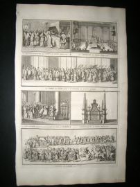 Picart C1730 Folio Antique Print. Religious Catholic Pope Procession etc